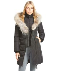 Mackage | Black Hooded Long Down Coat With Genuine Rabbit & Coyote Fur Trim | Lyst