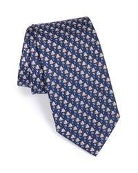 Ferragamo - Blue Frog Print Silk Tie for Men - Lyst