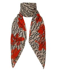 Armani Jeans - Natural Floral Logo Long Scarf - Lyst