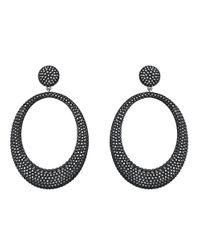 Swarovski | Black Hematite-tone Crystal Large Hoop Drop Earring | Lyst