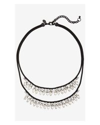 Express | Black Tiered Teardrop Rhinestone Necklace | Lyst