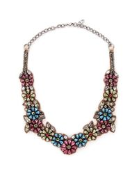 Valentino - Multicolor Floral Crystal Satin Necklace - Lyst