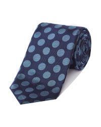 Chester Barrie - Blue Large Spot Silk Tie for Men - Lyst