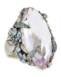 Alexis Bittar Fine - Metallic Cool Heather Marquis Amethyst Ring with Claw Diamonds Sapphires - Lyst