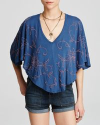Free People | Blue Sevilla Embroidered Knit Blouse | Lyst