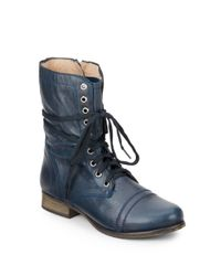 Steve Madden - Blue Troopa Leather Combat Boots - Lyst