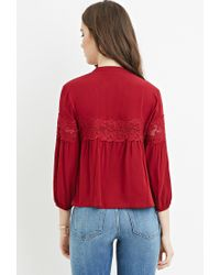 Forever 21 | Purple Floral Lace-trim Top | Lyst