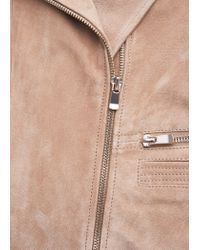 Mango - Natural Zip Detail Suede Jacket - Lyst