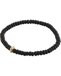 Luis Morais | Brown Skull Charm Charcoal Bead Bracelet for Men | Lyst