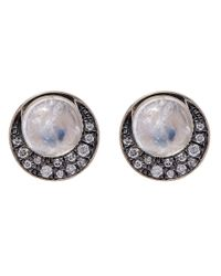 Noor Fares | Metallic Gold Eclipse Diamond And Moonstone Stud Earrings | Lyst