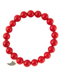 Sydney Evan | 8mm Red Coral Beaded Bracelet With 14k Gold/diamond Small Horn Charm (made To Order) | Lyst