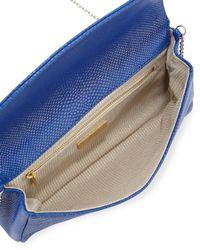 Lauren Merkin - Blue June Snake-embossed Leather Flap-top Clutch Bag - Lyst