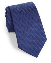 Armani - Blue Diamond Jacquard Silk Tie for Men - Lyst