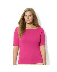 Lauren by Ralph Lauren | Pink Plus Size Shortsleeve Zipperdetail Top | Lyst
