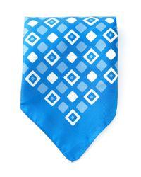Kiton | Blue Square Print Handkerchief for Men | Lyst