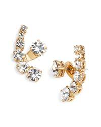 kate spade new york - Metallic Crystal Ear Jackets  - Lyst