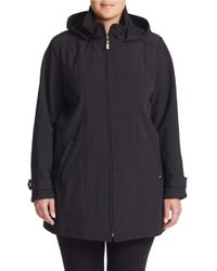Ellen Tracy | Black Plus Hooded Zip-front Parka | Lyst