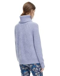 Rebecca Taylor | Blue Brushed Pointelle Turtleneck Pullover | Lyst