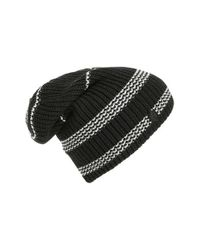 Vince Camuto | Black Stripe Thermal Slouchy Beanie | Lyst