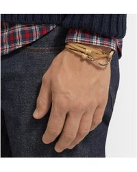 Miansai - Brown Leather And Gold-plated Hook Bracelet for Men - Lyst