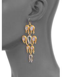 Alexis Bittar - Metallic Aigrette Mother of Pearl Doublet Crystal Chandelier Earrings - Lyst