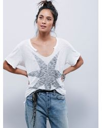Free People | White We The Free Vintage V Tee | Lyst
