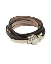 Alexander McQueen | Gray Dark Grey And Powder Triple Strand Skull Wrap Bracelet for Men | Lyst