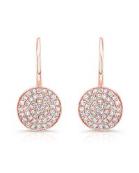 Anne Sisteron | Pink 14kt Rose Gold Diamond Disc Earrings | Lyst