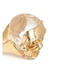 Alexander McQueen - Metallic Mask Skull Ring - Lyst