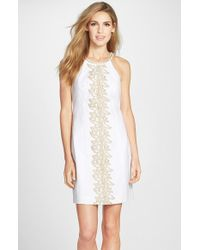 Lilly Pulitzer | White 'pearl' Embroidered Cotton Shift Dress | Lyst