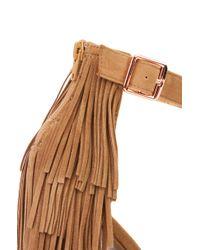 AKIRA | Natural Open Toe Layered Fringe Heels - Camel | Lyst