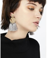 Accessorize - Gray Fringe Disc Elaborate Earrings - Lyst