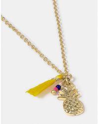 Accessorize - Metallic Cutesy Pineapple Pendant Necklace - Lyst