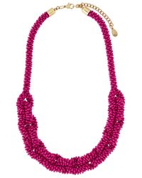 Accessorize - Pink Linked Seedbead Round Necklace - Lyst