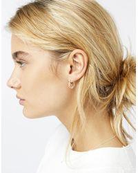 Accessorize - Metallic Sterling Silver Geo Cutwork Hoop Earrings - Lyst