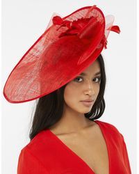 Accessorize - Red Asymmetric Statement Hat Fascinator - Lyst