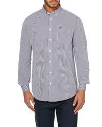 Farah | Blue Millard Gingham Shirt for Men | Lyst