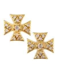 Elizabeth Showers | Metallic 18k Gold Pav Diamond Maltese Cross Earrings | Lyst