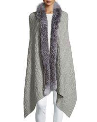 Sofia Cashmere | Gray Fur-trim Cashmere Scarf | Lyst