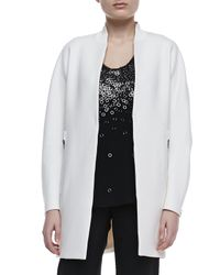 Elie Tahari | White Leann Long Zipper Coat | Lyst