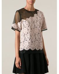 MSGM - Purple Organza Top with Lace Overlay - Lyst