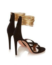 Aquazzura | Black Spin Me Around Suede Sandals | Lyst