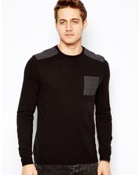ASOS | Black Sweater with Dogstooth Patch for Men | Lyst