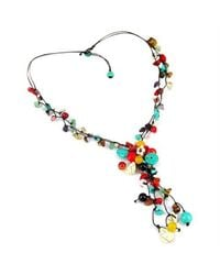 Aeravida | Multicolor Pretty Long Multi Stone Cluster Drop Necklace | Lyst
