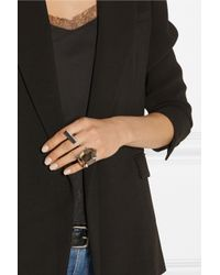 By Malene Birger - Metallic Juliane Stainless Steel And Resin Two-Finger Ring - Lyst