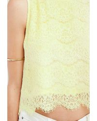 Forever 21 - Yellow Floral Lace Split-back Top - Lyst