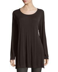 Eileen Fisher - Brown Silk Jersey Long-sleeve Tunic - Lyst