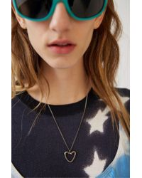 Acne - Metallic Heart Necklace antique Silver - Lyst