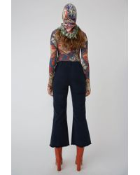 Acne - Flared Leg Trousers teal Blue - Lyst