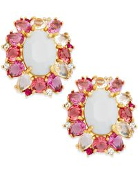 kate spade new york | Pink Gold-tone Garden Bed Gems Statement Stud Earrings | Lyst